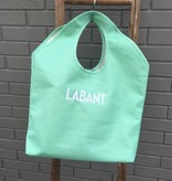 Heartstrings Large Mint Jute Beach Tote