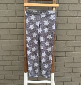 Terez Heathered Grey Stars Capri Leggings