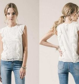 Moon River Off White Swiss Dot and Lace Top