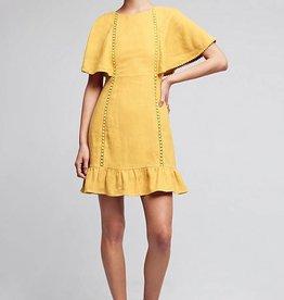 Moon River Mustard Yellow Linen Tie Back Dress