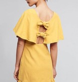 Moon River Mustard Yellow Linen Tie Back Dress ORIG 86