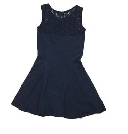 Splendid Dark Blue Indigo Lace Bodice Panels Dress