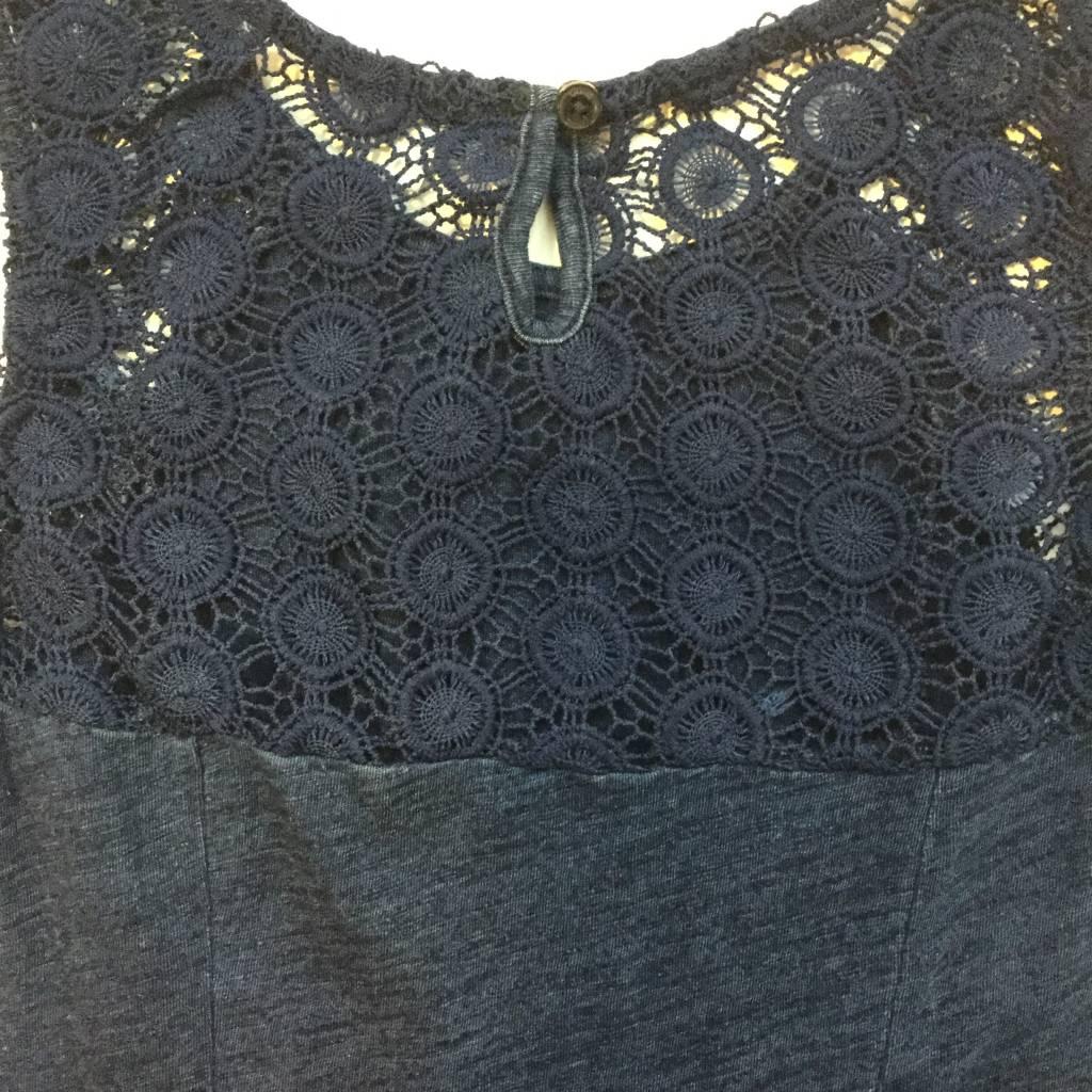 Splendid Dark Blue Indigo Lace Bodice Panels Dress