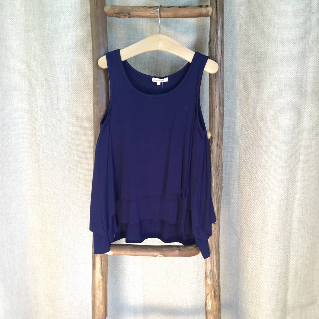 Ella Moss Navy Stella Tiered Sleeveless Top