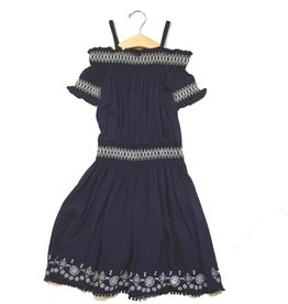 Ella Moss Navy Zada Voile Off Shoulder Dress