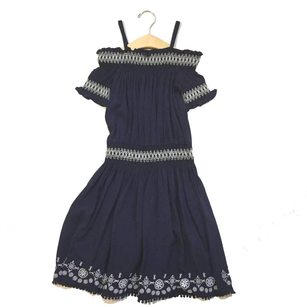 Ella Moss Navy Zada Voile Off Shoulder Dress
