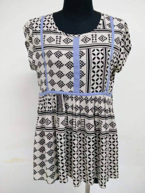 THML Cap Sleeve Top Black Blue White