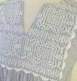 THML Embroidered Stripe Top White Grey