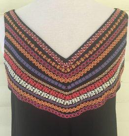 THML Vneck Embroidered Shift Dress Black ORIG 68