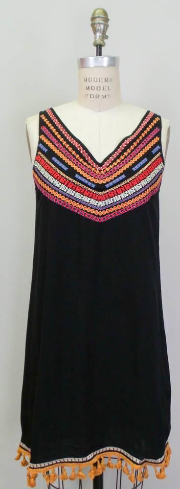 THML Vneck Embroidered Shift Dress Black