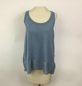 Dylan Denim Blue Slub Lace Trim Tank