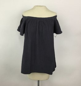 Dylan Navy Gauzy Cotton Off Shoulder Top