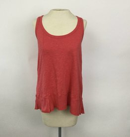 Dylan Washed Red Slub Cotton Rib Hem Tank