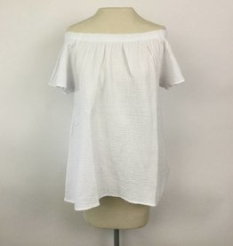 Dylan White Gauzy Cotton Off Shoulder Top