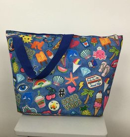 Iscream Embroidered Patches Blue Neoprene Overnight Bag