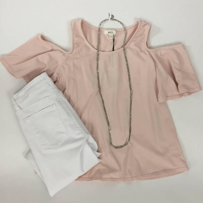 Pale Pink Cold Shoulder T-Shirt
