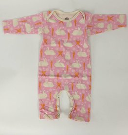 Winterwater Long Sleeve Romper Bunnies and Carrots Pink