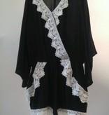 Ella Moss Black White Rikki Wrap Crochet Romper with Lace