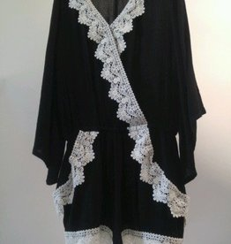 Ella Moss Black White Rikki Wrap Crochet Romper with Lace