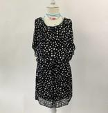Black White Polka Dot Chiffon Dress