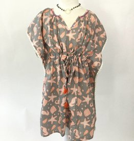 Namaste Beach Dress Grey Orange Sea Print