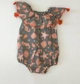 Mandavi Baby Romper Grey Orange Beach Print