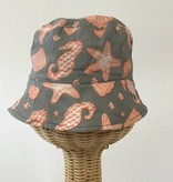 Beach Hat Orange Grey Print