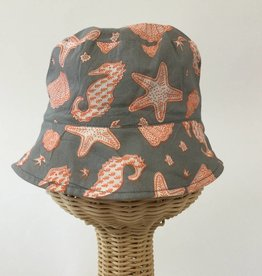 Beach Hat Orange Grey Print