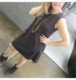 Dylan Carbon Grey Cotton Slub 3 Tier Tank Dress