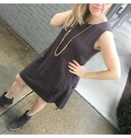 Dylan Carbon Grey Cotton Slub 3 Tier Tank Dress