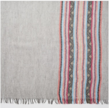 Weaved Border Scarf w Fringe