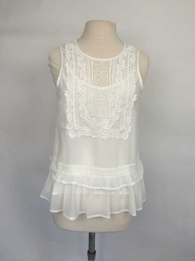 Greylin Tayla White Lace Bib Blouse