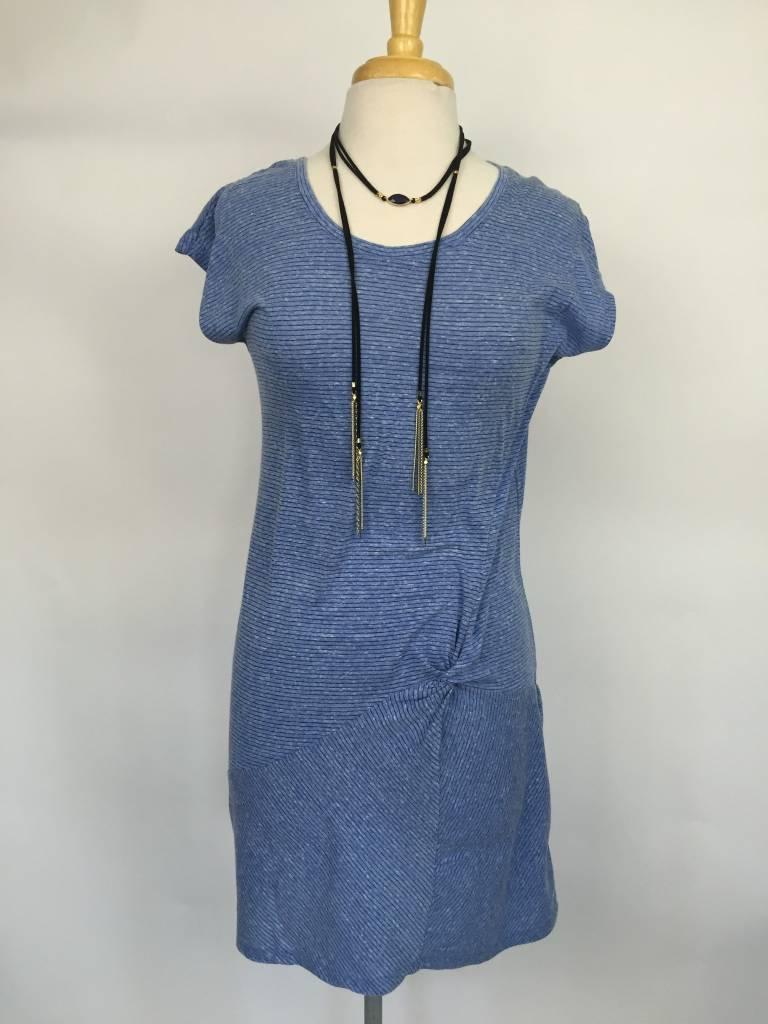 Mod-O-Doc Asymmetrical Twist Front T-shirt Dress Blue