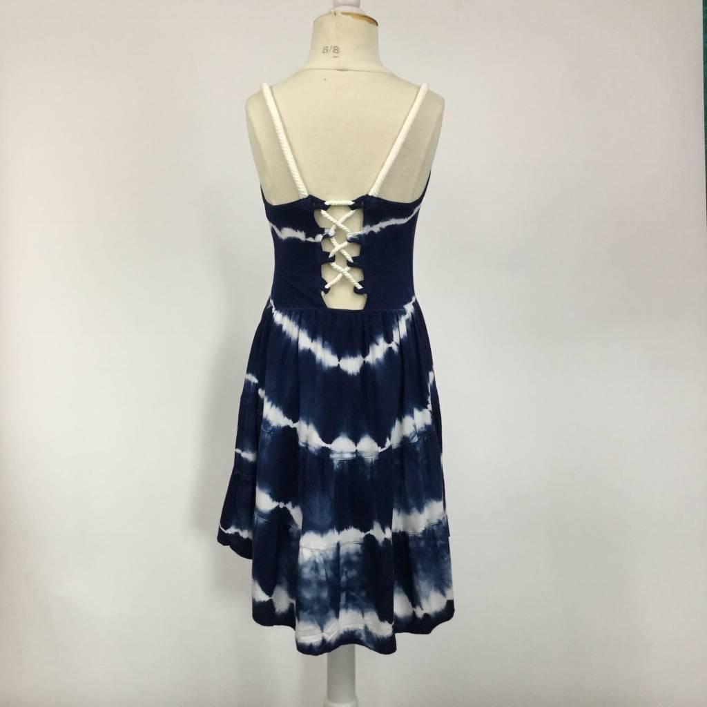 Vintage Havana Navy White Tie Dye Tiered Lace Back Dress