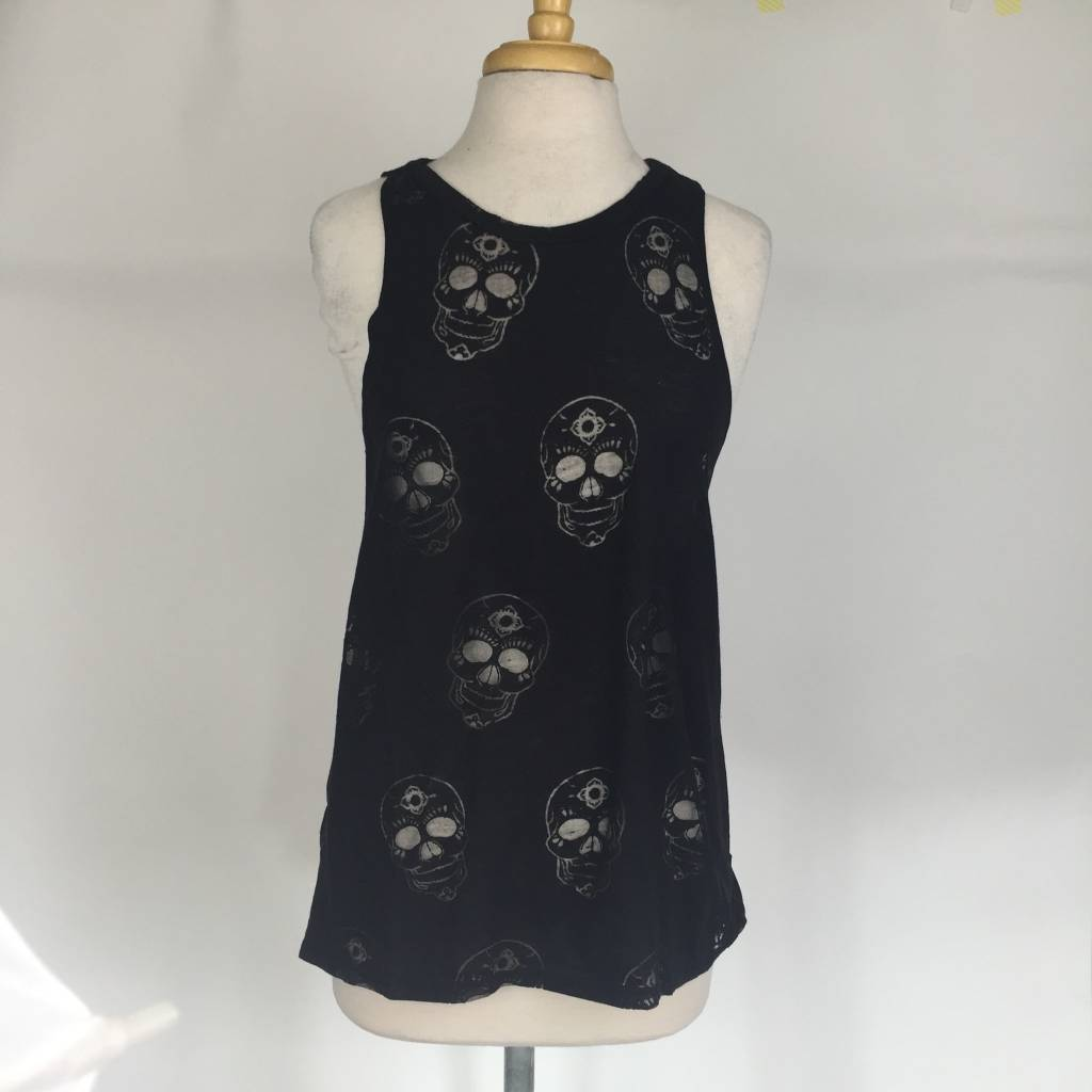 Terez Black Sugar Skull Burnout Muscle Tank