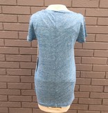 Dylan Linen Short Sleeve Vneck Hi Lo Tee Denim Blue