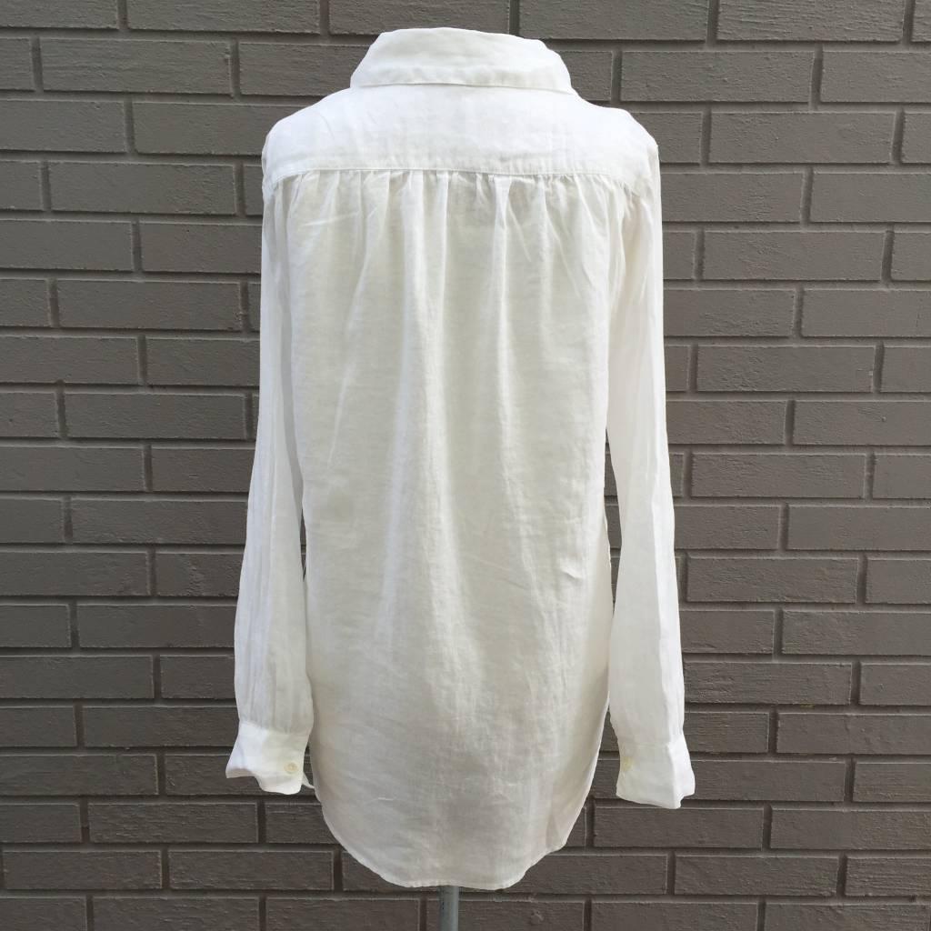 Dylan White Linen Boyfriend Shirt