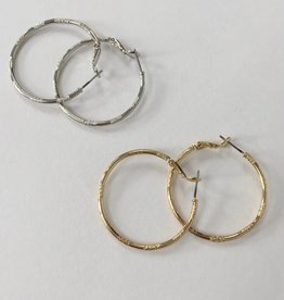 Marlynn Schiff 6092 Small Etched Hoop Earrings