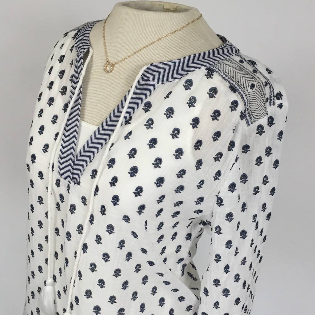 Dylan Parker Peasant Blouse White