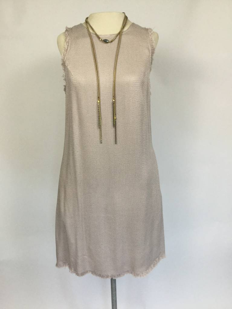 Oatmeal Julia Fringe Trim Shift Dress