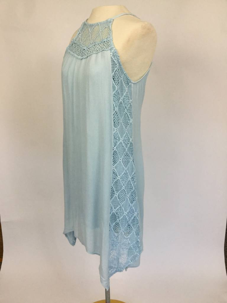 Lace Contrast Garment Washed Dress Blue
