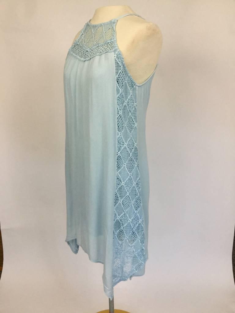 Paper Crane Lace Contrast Garment Washed Dress Blue