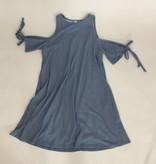 Paper Crane Blue Cold Shoulder Waffle Dress