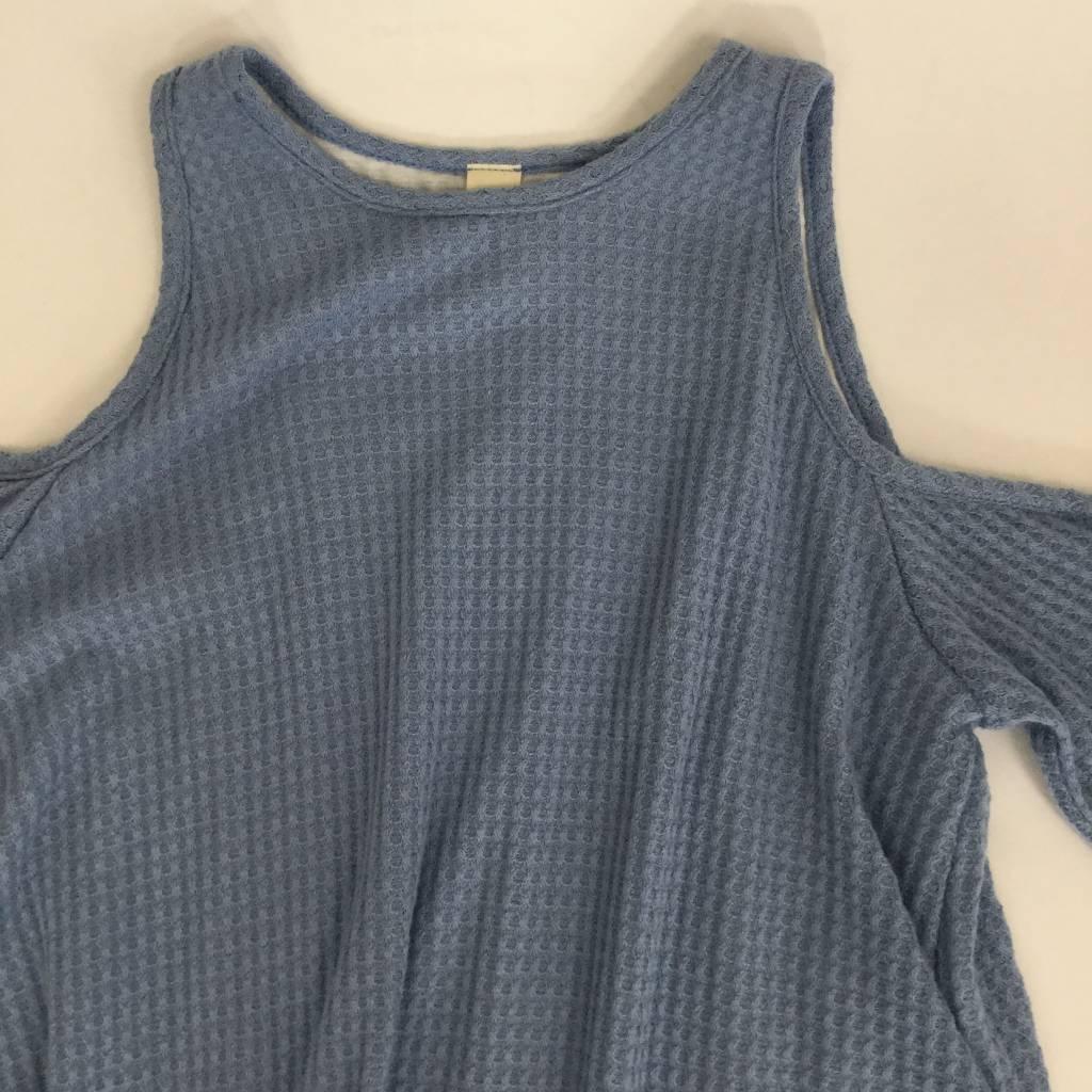 Blue Cold Shoulder Waffle Dress