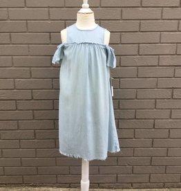 Tractr Girls Denim Cold Shoulder Dress