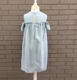 Tractr Girls Denim Cold Shoulder Dress