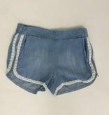 Tractr Girls Lace Trim Side Zipper Denim Shorts