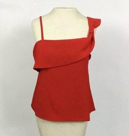 JOA Red Sleeveless Draped Front Top