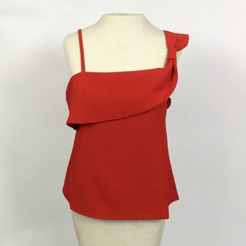JOA JOA Red Sleeveless Draped Front Top