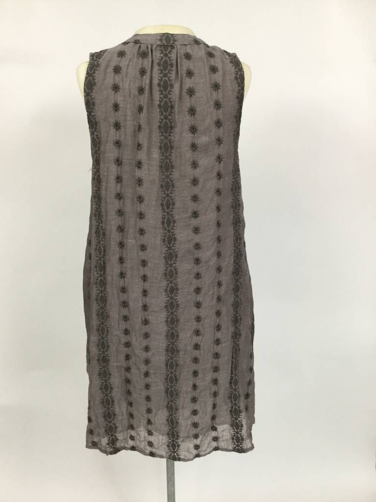 Dylan Embroidered Trapeze Dress Soft Black
